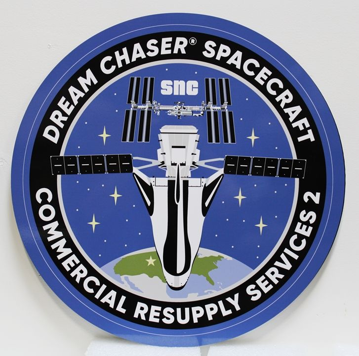 LP-1222 - Carved Plaque of the Crest of the Dream Chaser Spacecraft Commercial Resupply Services, 2.5-D Artist-Painted