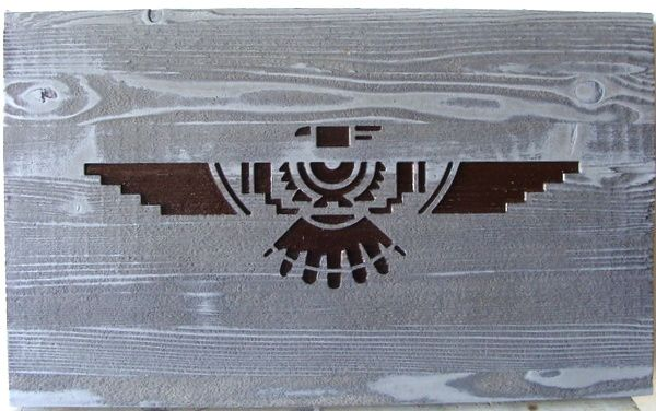 O24372 - Sandblasted Cedar Sign with Native American Symbol Thunderbird