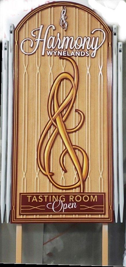 R27013 - Elegant and Distinctive Carved HDU Sign for the Harmony Wynelands Tasting Room