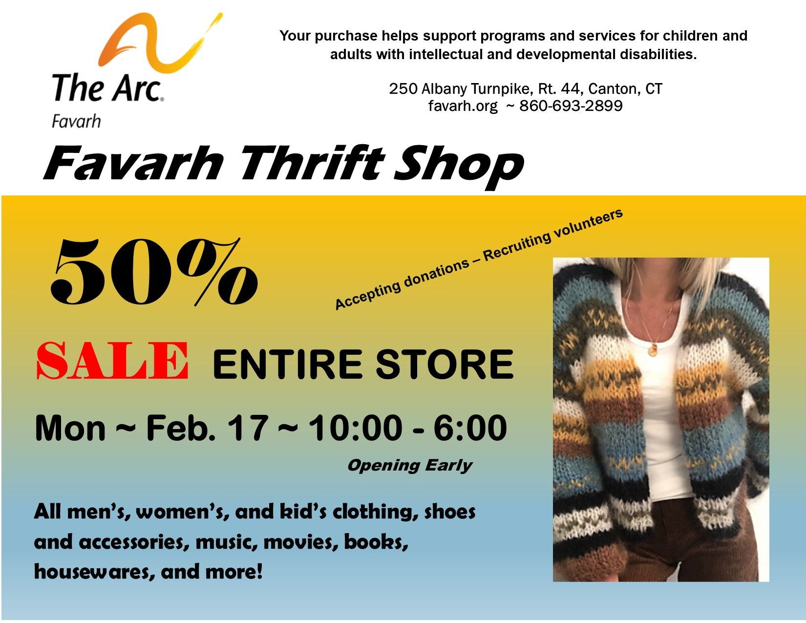 Favarh Thrift Shop 50% Sale