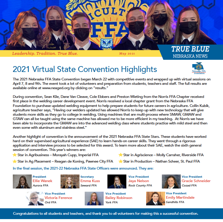 2021 Nebraska FFA Foundation May Newsletter