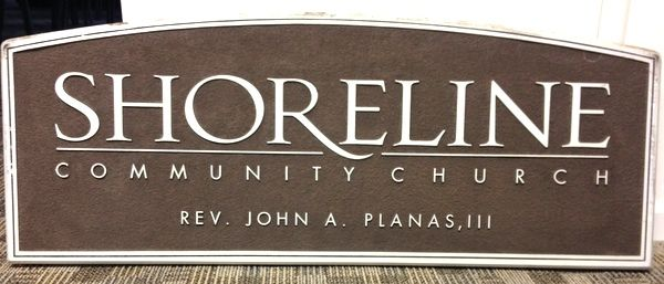 D13111 - Carved and Sandblasted HDU Sign for the Shoreline Community Church