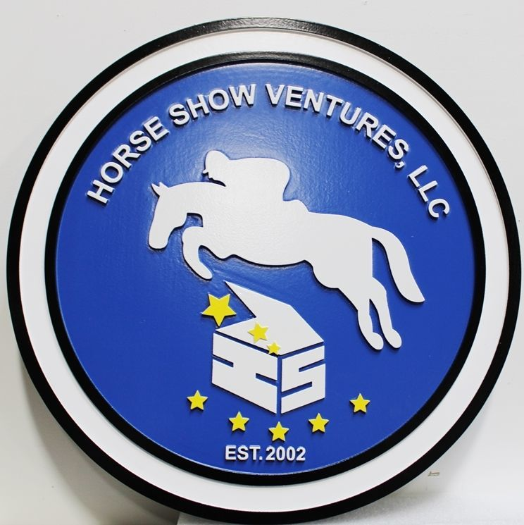 """P25179 - Carved Sign for """"Horse Show Ventures"""", with a  Profile of a Horse and Rider Jumping over an Obstacle as Artwork"""
