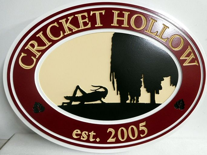 O24643- Carved Sign for the Cricket Hollow Farm, with Willow Tree and  Cricket in Silhouette