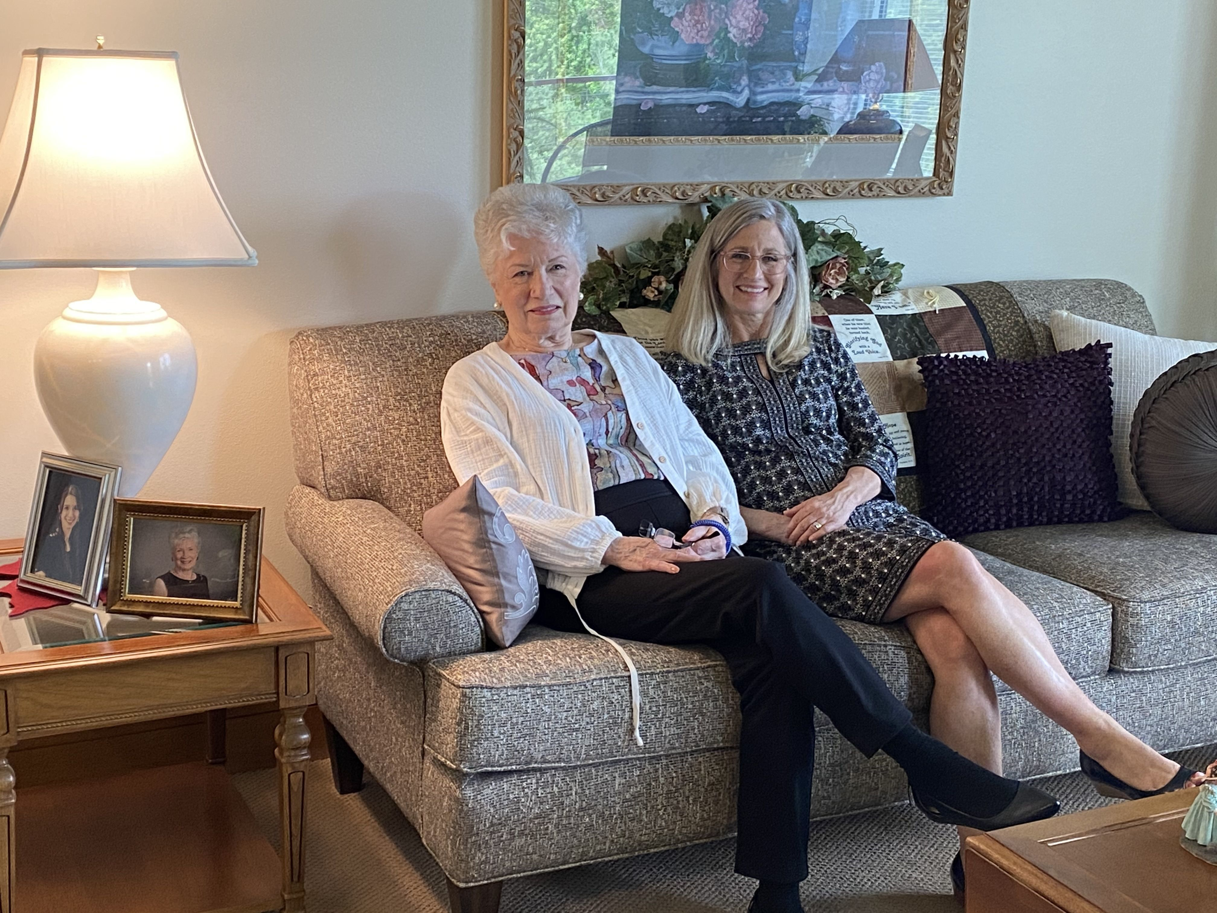Elaine and Lisa Beiber relax in Elaine's new apartment at our TimberCrest Apartments in Clear Lake, Iowa