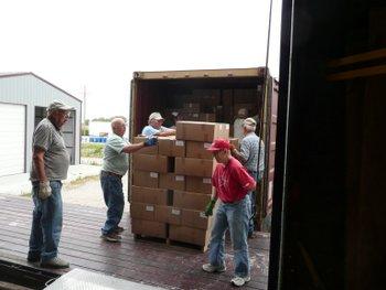 Volunteers loading for Latvia