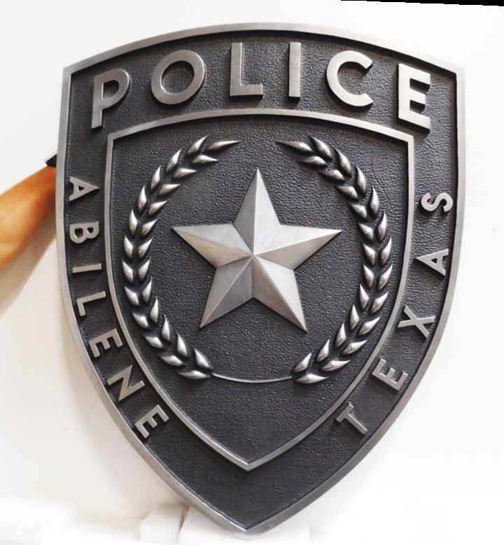 PP-2055 - Carved Plaque of the Shoulder Patch of Police of Abilene, Texas, 3-D Aluminum-Plated