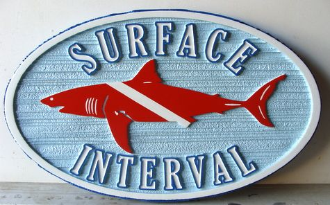 "L21384 -  Carved and Sandblasted HDU Sign ""Surface Interval"", with Shark"