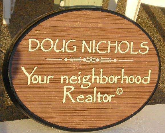 SA28626 - Carved Wood-Grain Neighborhood Realty Sign with Name of Realtor