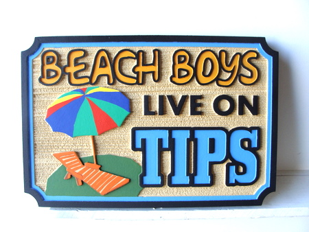 L21475 - Carved Beach Sign, Beach Boys Live on Tips