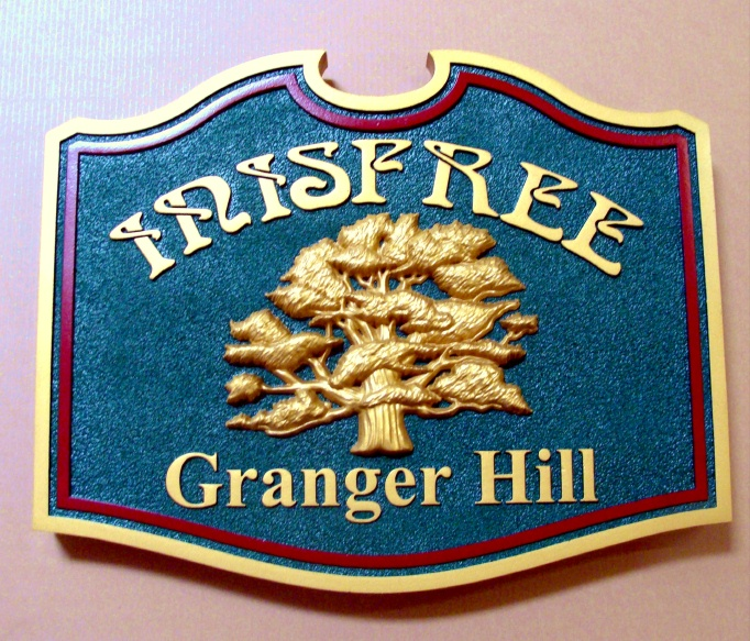 "I18316 -  Oak Tree Residence Name Sign ""Irisfree"", with 24K Gold-Leaf Gilding."