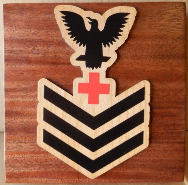 V31387 – Carved Wood  Wall Plaque with Rank Insignia, Petty Officer First Class
