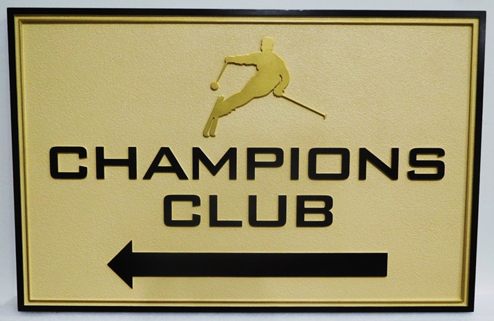 "M22245 - Carved 2.5-D HDU  Sign  for the ""Champions Club""  with Raised Text, a Double Border, and a Silhouette of a Skier"