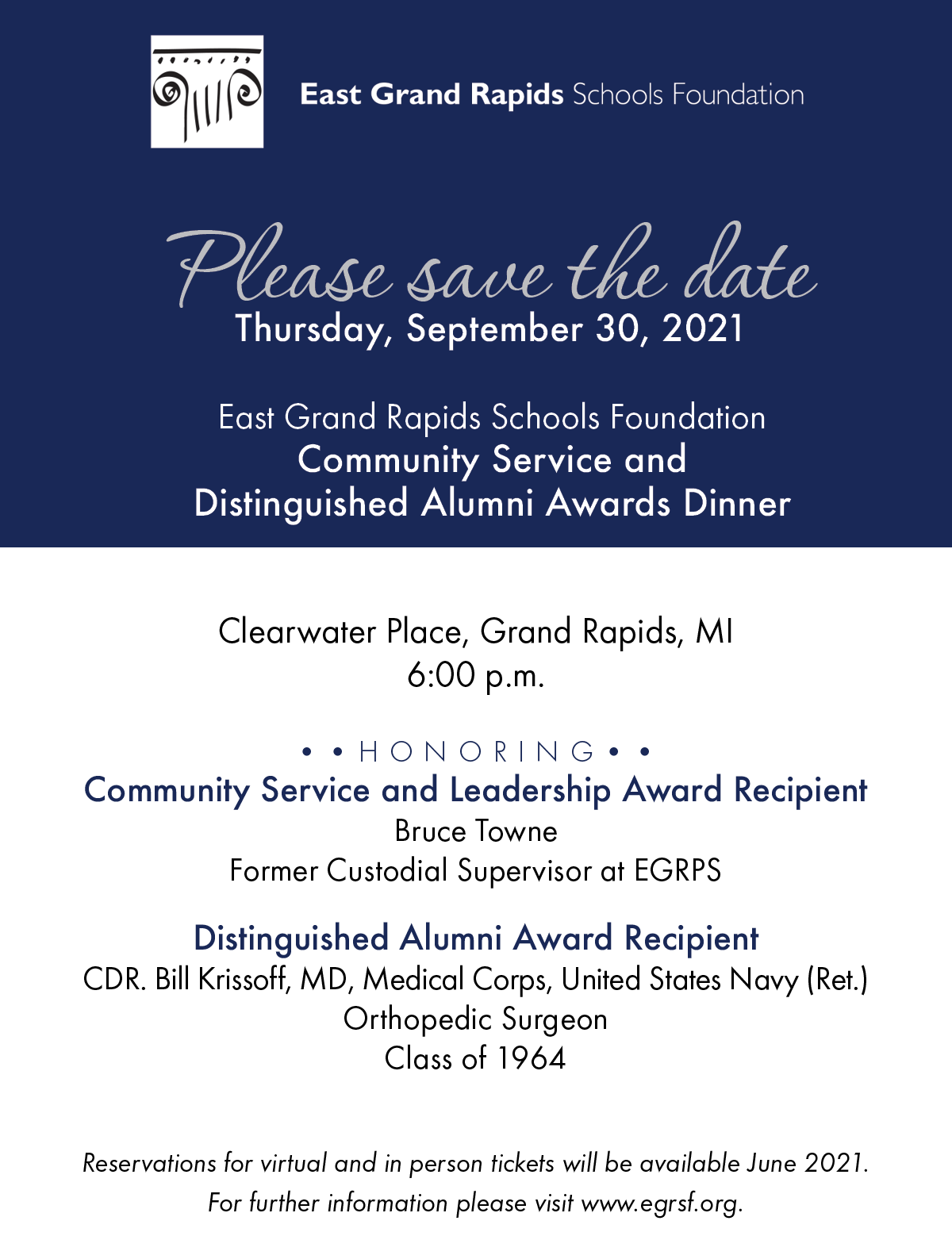 Community Service and Distinguished Alumni Awards Dinner Save the Date