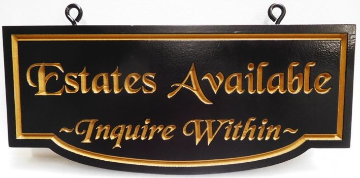 """GC16425 - Engraved High-Density-Urethane (HDU)  """"Private Estates  Available""""  Sign for a Cemetery"""