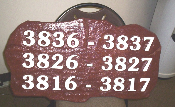 KA20853 - Carved Stone Look HDU Address Street Number Sign for Condominium