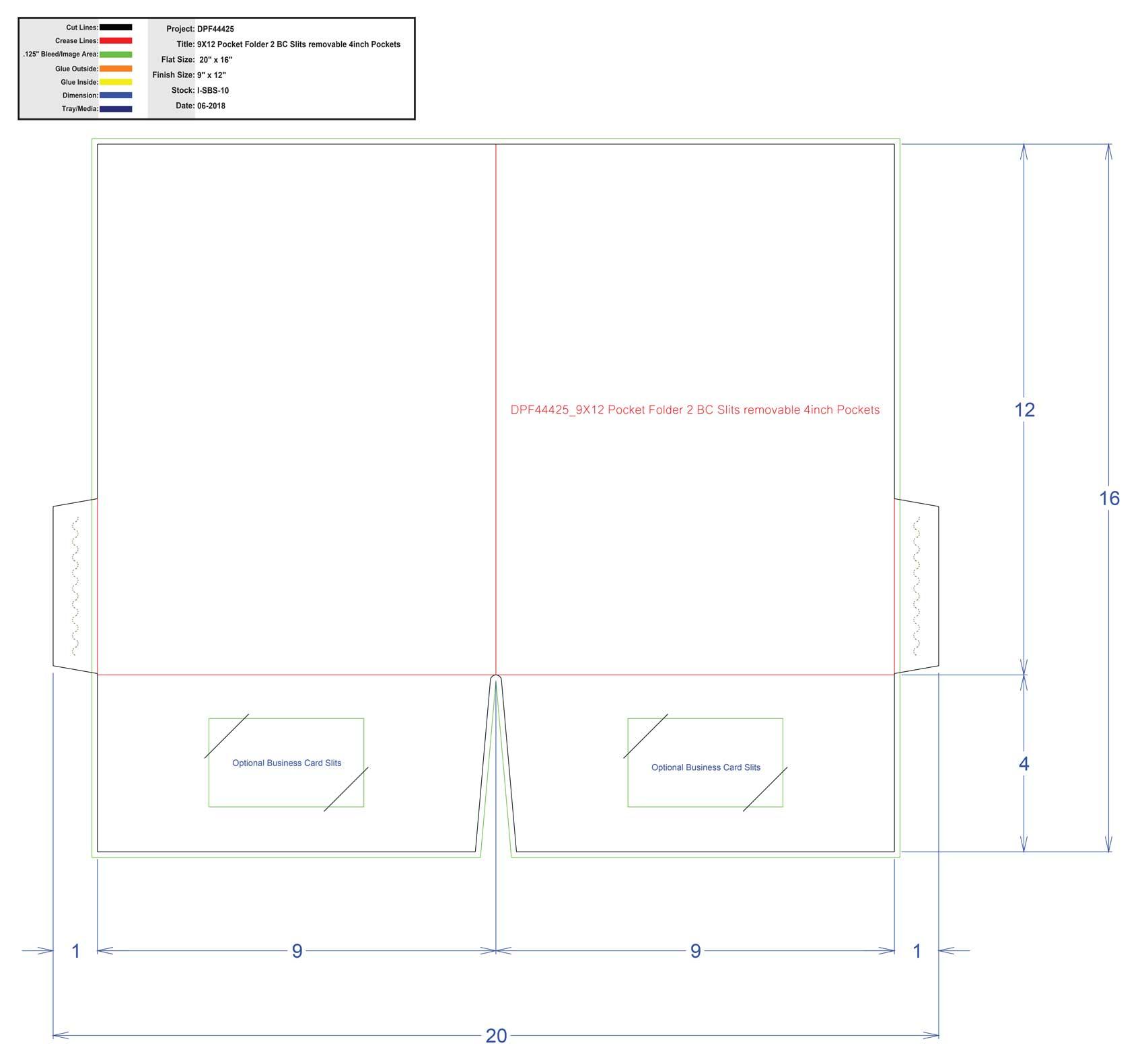 DPF44425 9x12 Pocket Folder 2 BC Slits Removeable 4 - 4 Inch Pockets