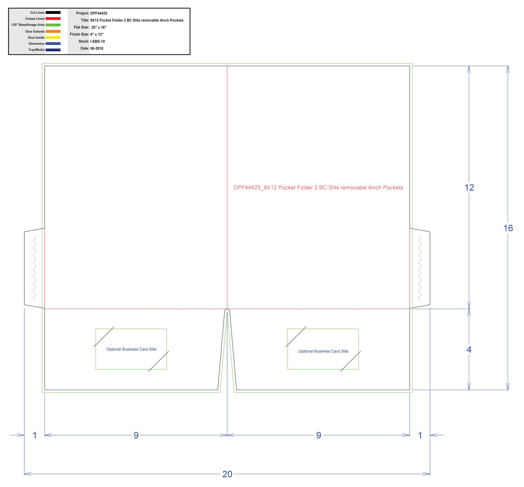 DPF44425_9X12 Pocket Folder 2 BC Slits removable 4inch Pockets