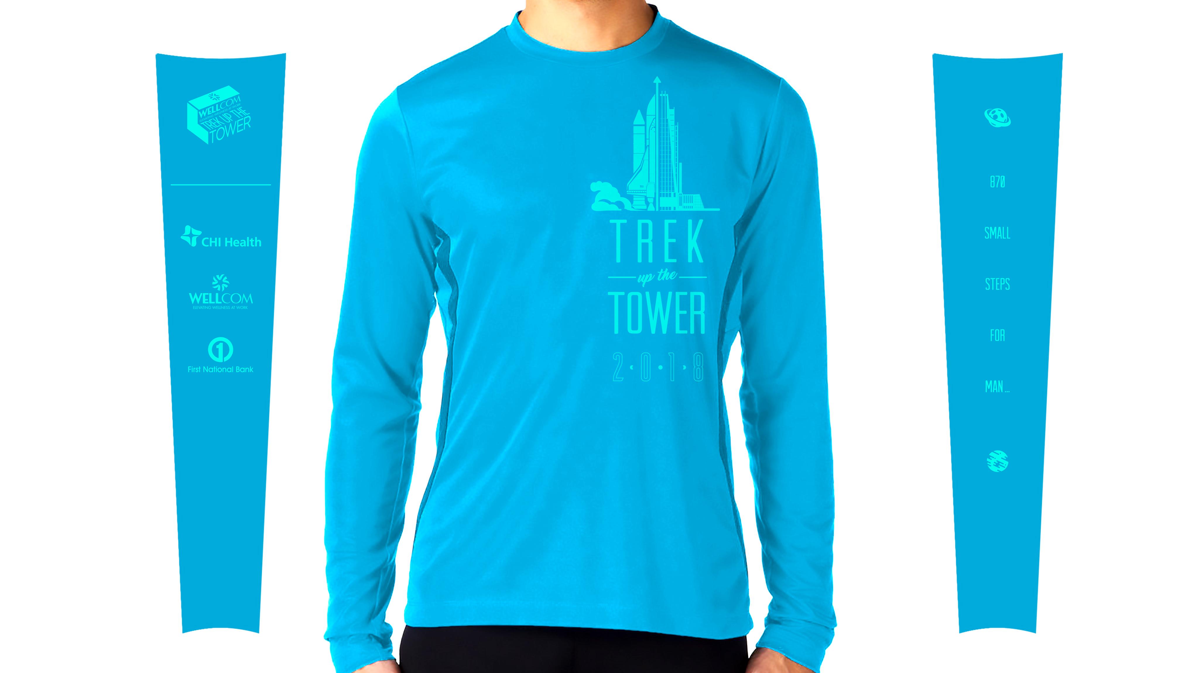 2018 Trek Up the Tower Participant Shirt - Atomic Blue