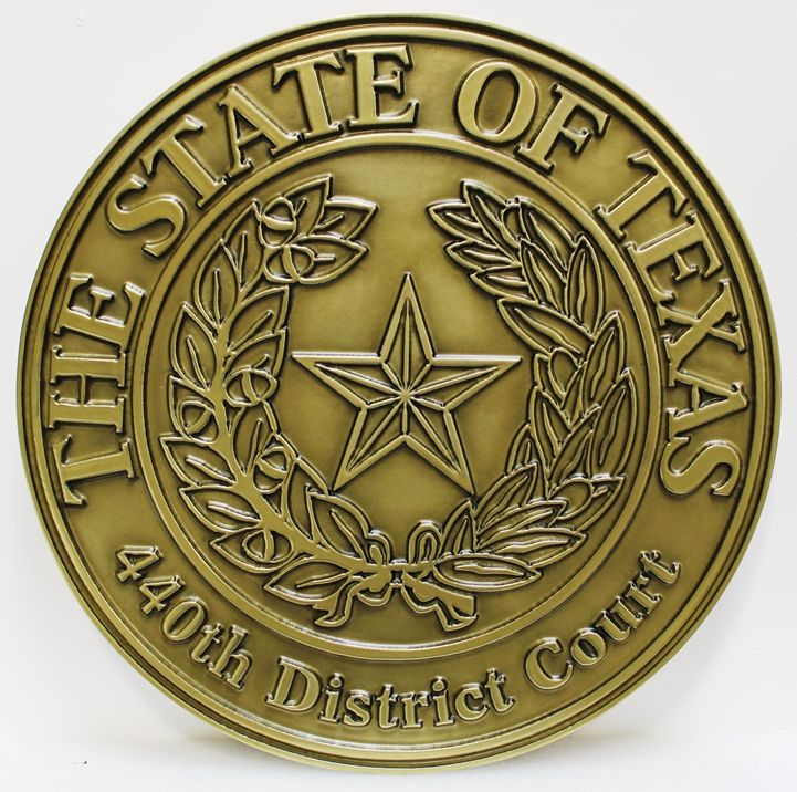 GP-1392 - Carved Plaque of the Seal of a District Court in the State of Texas, 2.5-D Raised Outline Relief