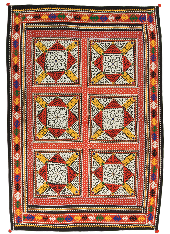 Ralli quilt, Chauhan People, Sindh, Pakistan, circa 1950-1980, 87 x 54 in, IQSCM 2006.021.0004