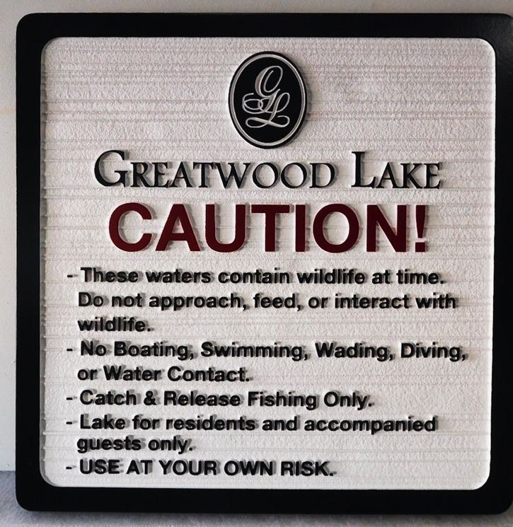 GA16556 -  Carved High-Density-Urethane (HDU) Park Rules  Sign on Greatwood Lake, with Engraved Logo as Artwork.