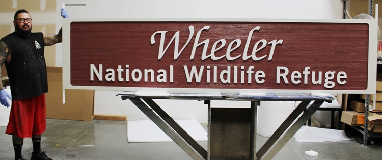 G16040 -  Carved and Sandlasted Wood Grain HDU Entrance Sign for Wheeler National Wildlife Refuge , 2.5-D