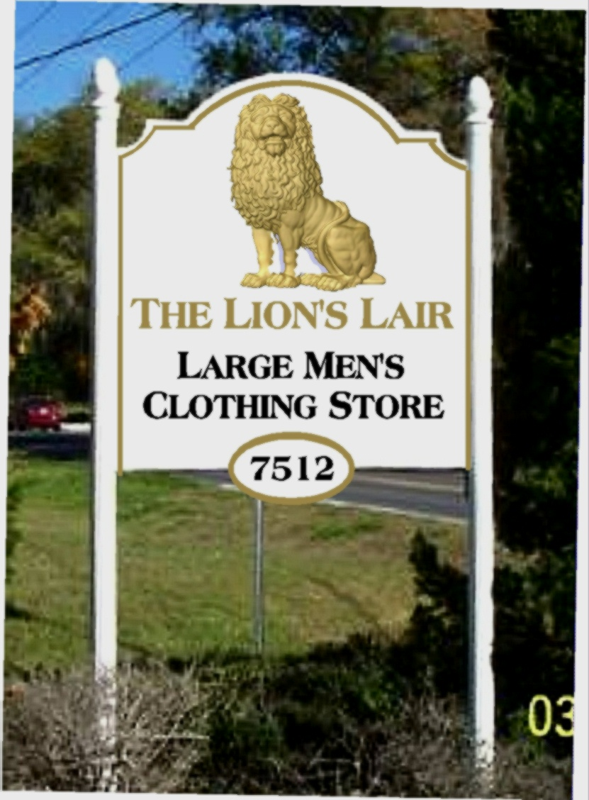S28019 - Sign for Large Mens' Clothing Store, with 3-D Carved Lion