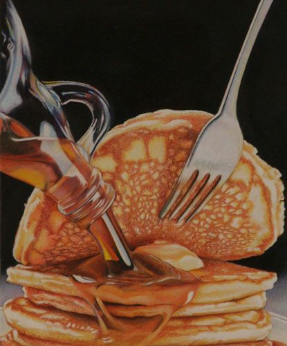 "Pancakes, colored pencil, 9"" x 7-1/4"""