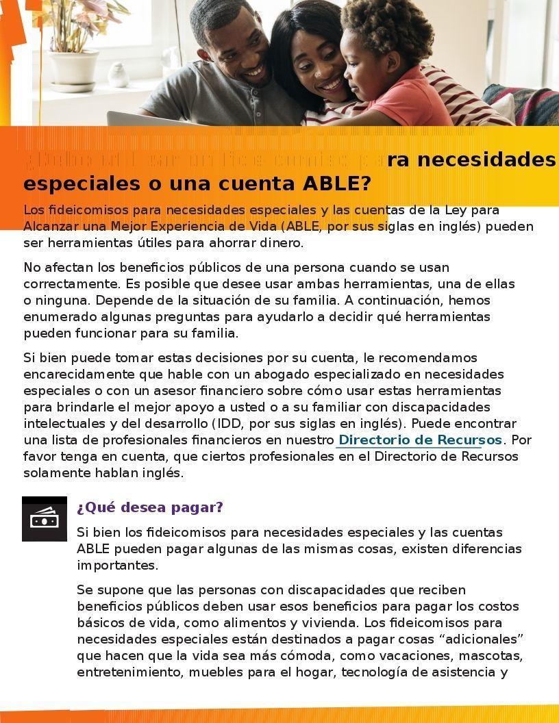 Special Needs Trust or ABLE Account? (¿Debo utilizar un fideicomiso para necesidades especiales o una cuenta ABLE?)