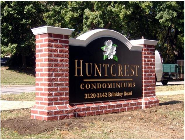 K20070 - EPS Monument  Sign for Condominiums, Dogwood, Faux Brick Pillars