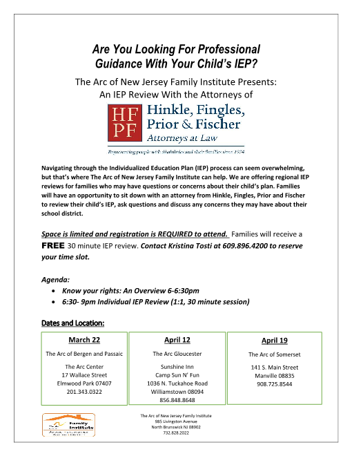 IEP Review- The Arc of Bergen and Passaic