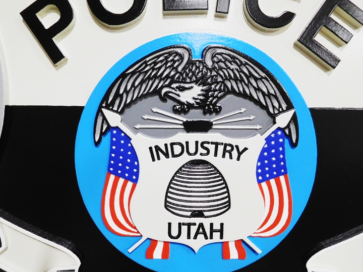 PP-3152- Center Section of the Carved Plaque of the Seal of the Police Department of  Pleasant Grove, Utah, 2.5-D Artist-Painted