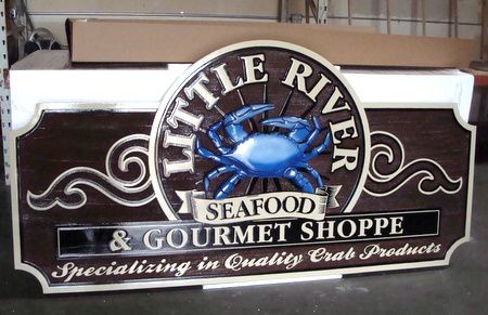 M5032 - Large Carved 3D HDU Seafood Restaurant Sign