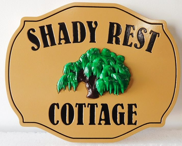 "I18315 - Property Name Sign  ""Shady Rest Cottage""  with 3D Carved Willow Tree"