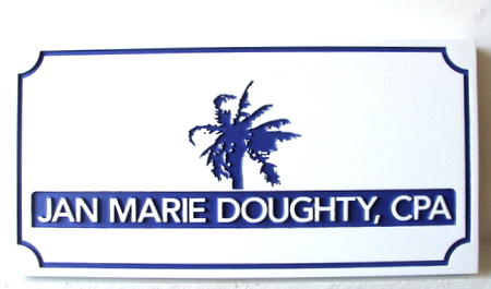 C12021 - Engraved and Sandblasted CPA Sign with Palm Tree