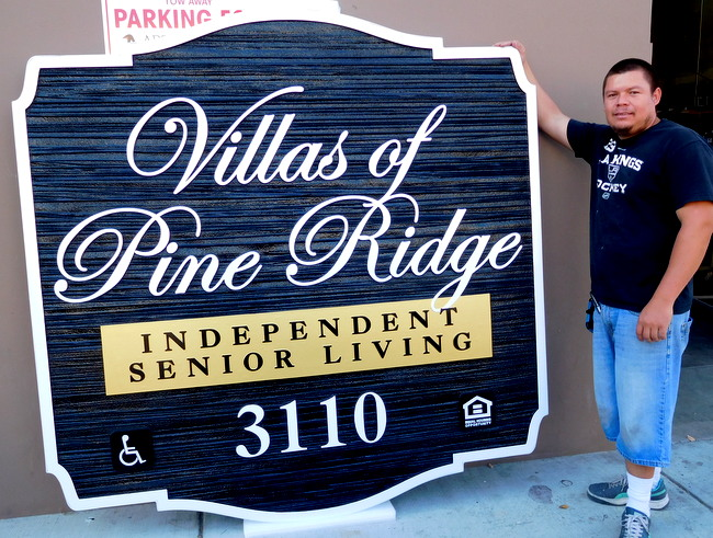 "K20130 - Large Entrance Sign to Senior Residential Community ""Villas of Pine Ridge"", with Sandblasted Wood Grain Texture Background"