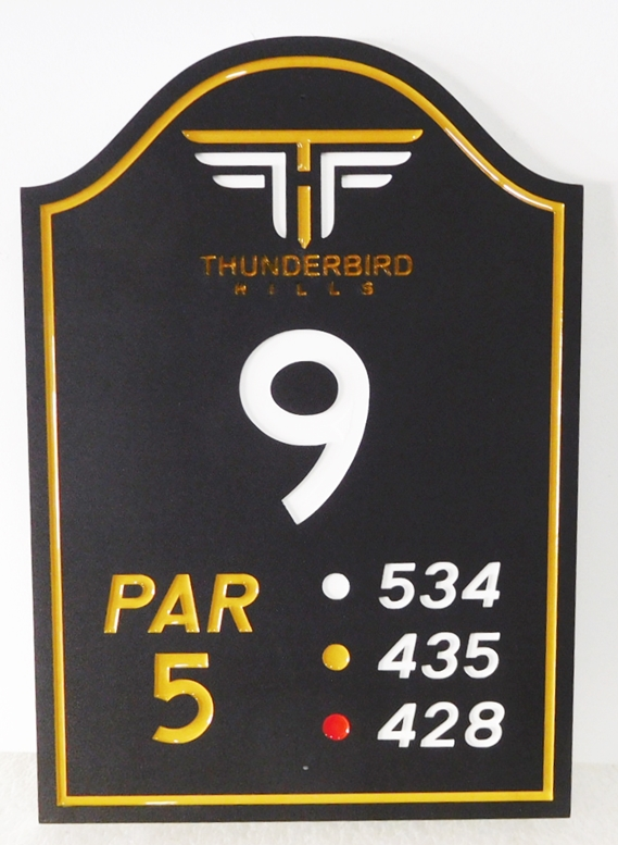 E14373- Carved Tee Sign for Hole 12 of the Thunderbird Hills Country Club, Engraved HDU with Club Logo