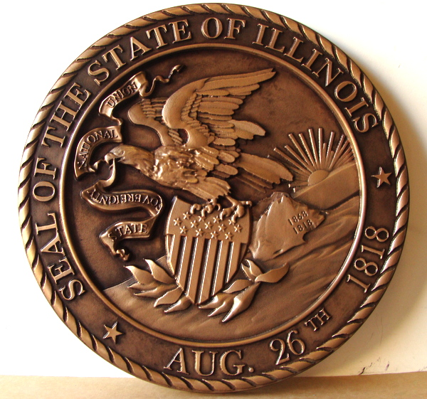 BP-1210 - Carved Plaque of the Great Seal of the State of Illinois, Bronze Plated