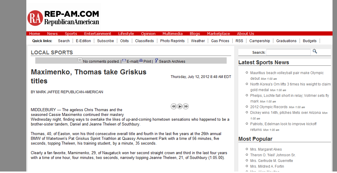Maximenko, Thomas take Griskus titles | Republican American | July 12, 2012
