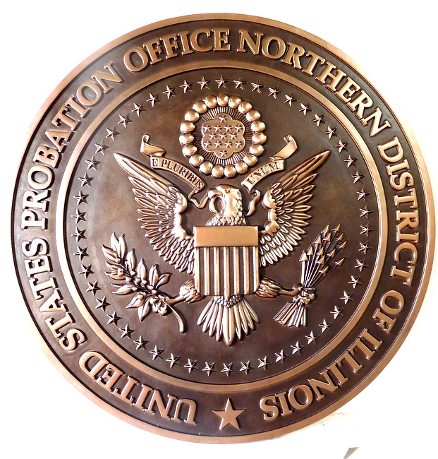 M7014 - Carved 3D Bronze  Wall Plaque for US Probation Court, Northern District of Illinois