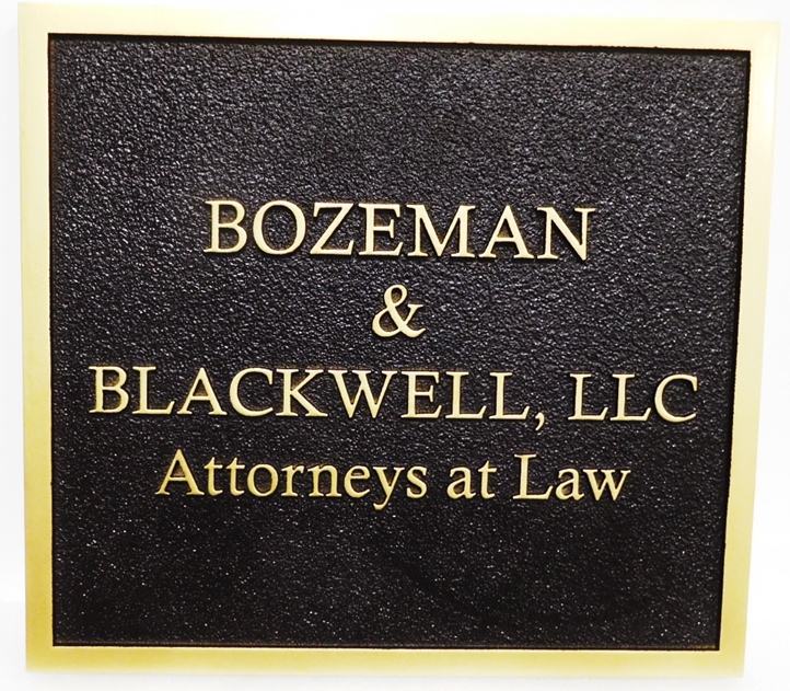 A10428 - Carved and Sandblasted 2.5-D HDU entrance Sign for the Offices of Bozeman & Blackwell Attorneys-at-Law