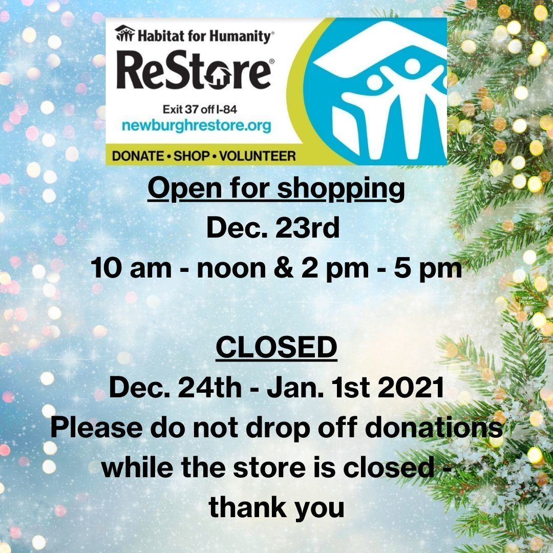 ReStore Upcoming Holiday Hours