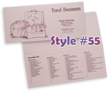 Imprinted document folders for travel agencies