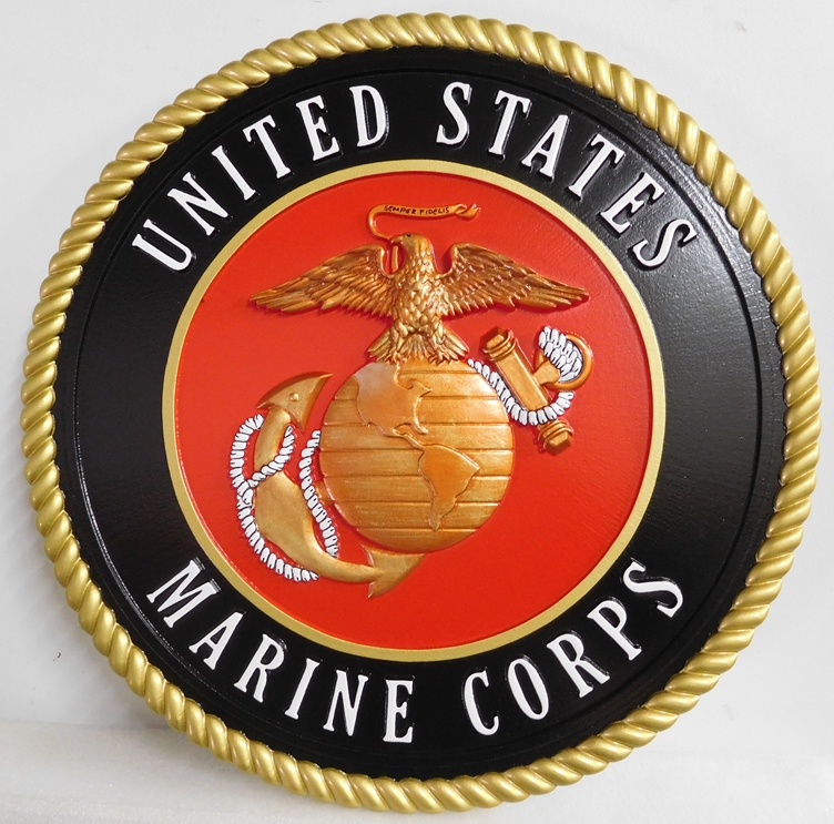 V31406A -Marine Corps Emblem, Carved HDU, with Official Colors(except for globe/anchor/eagle)
