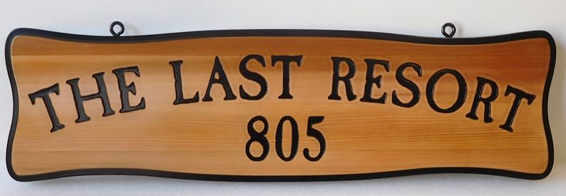 "M22044 - Engraved Cedar Address Sign ""The Last Resort"""