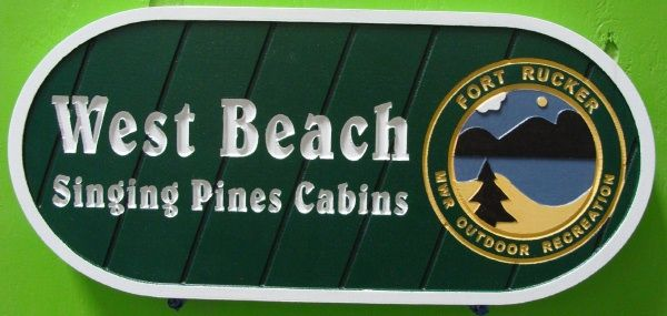 G16305 - All Weather Sign for Outdoor Recreation, Singing Pines Cabins