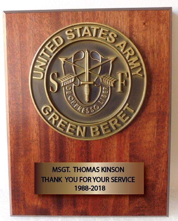 V31743A - Carved 3-D Bas-reliefBrass-plated  HDU Emblem  of the Green Berets Mounted on  African Mahogany Wood