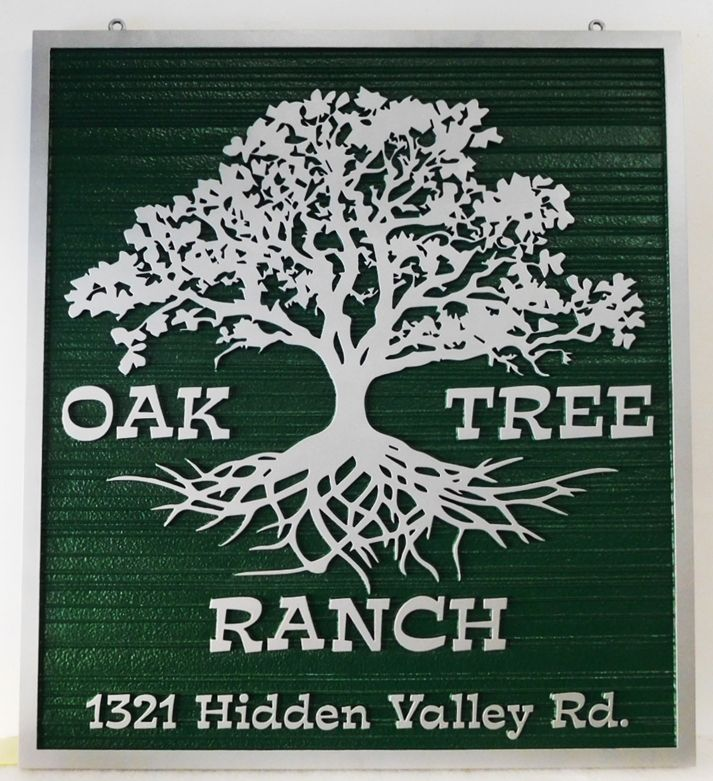 """O24859 - Carved Address Sign for the """"Oak Tree Ranch""""  with the Silhouette of an Oak Tree and its Roots as Artwork"""