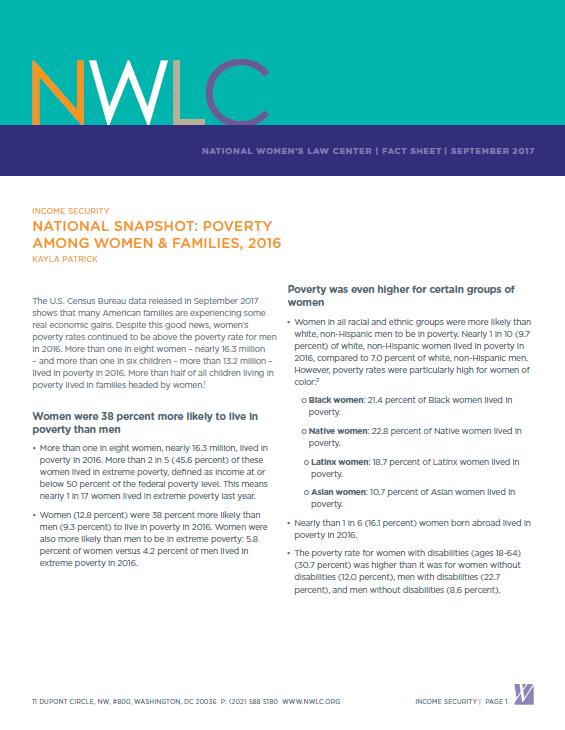 National Snapshot: Poverty Among Women and Families, 2018